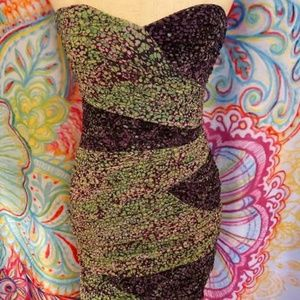 BCBG Strapless Purple/Green Ruched Mini Dress Sz 6